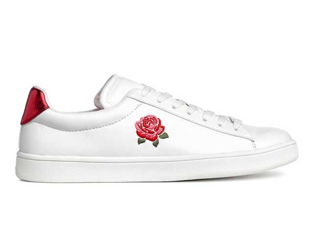 Embroidered trainers available at H&M