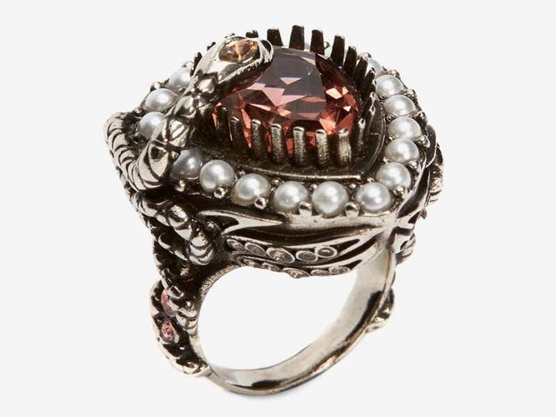 Metal and jewel ring by Alexander McQueen
