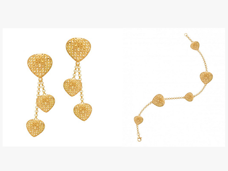 Earrings and bracelet by Damas available at Mall of the Emirates, Mall of Egypt, and City Centres